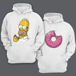 Парные толстовки с капюшоном для влюбленных Гомер Симпсон и пончик