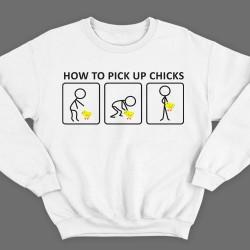 """Прикольные свитшоты с надписью """"How to pick up chicks"""" (""""Как заполучить цыпу"""")"""