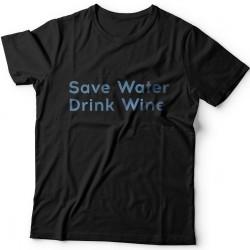"""Прикольные футболки с надписью """"Save water drink wine"""" (""""Сохрани воду - пей вино"""")"""