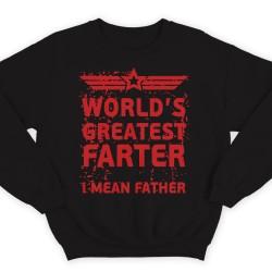 """Прикольный свитшот с надписью """"World's greatest farter. I mean father"""""""