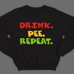 """Прикольный свитшот с надписью  """"Drink. Pee. Repeat"""""""