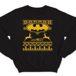 Прикольный свитшот с новогодним принтом и знаком бэтмена