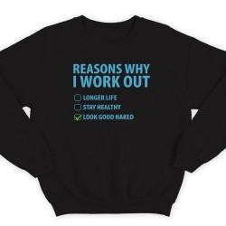 """Прикольный свитшот с надписью """"Reasons why i workout"""" (""""Причины по которым я качаюсь"""")"""