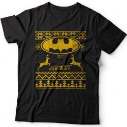 Прикольная футболка с новогодним принтом и знаком бэтмена