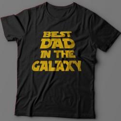 """Прикольная футболка с надписью """"Best dad in the galaxy"""" (""""Лучший батя в галактике"""")"""
