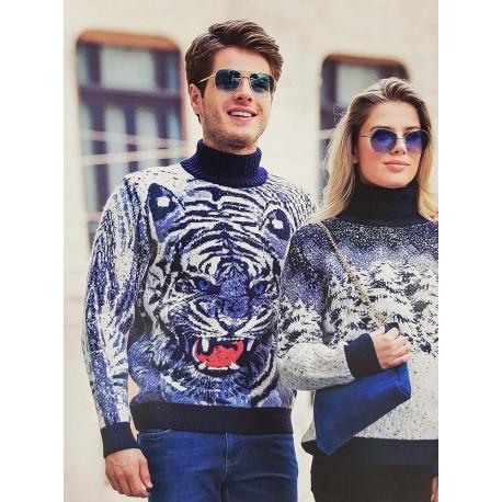 Мужской свитер с тигром 230-403