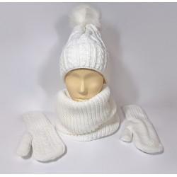 Женский комплект шапка, шарф и варежки (белый)