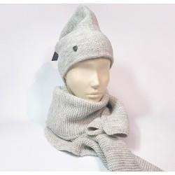Комплект шапка и шарф универсальный (серый)