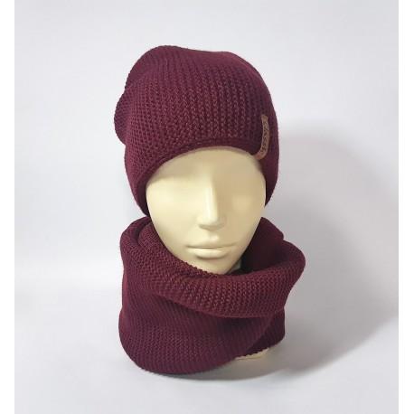 Комплект шапка и шарф (бордовый)