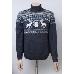 Мужской свитер с оленями 05181 Синий